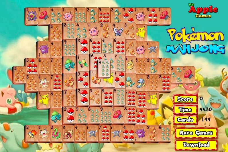 Mahjong Pokemon free download on your computer full screen